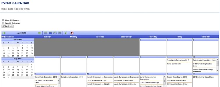 Blazer Exhibits event calendar
